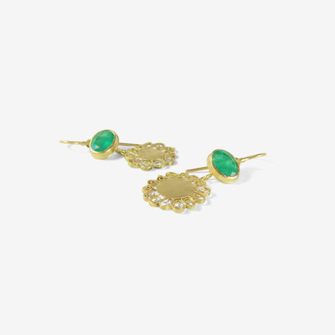 JUDY GEIB 18K & OVAL EMERALD SMALL SPIRALLY FLOWER EARRINGS