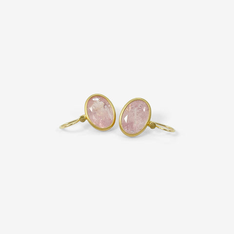 LOLA BROOKS 18K & MORGANITE OVAL DROP EARRINGS, 13.16CT