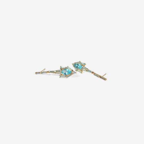 NAK ARMSTRONG 20K, BLUE ZIRCON, APATITE & DARK AQUAMARINE ANCHOR EARRINGS