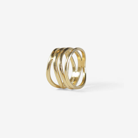 NICOLE LANDAW 14K FOUR ROW WAVING HEWN RING