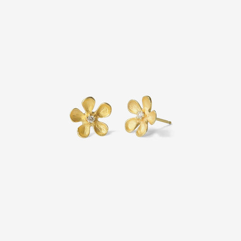 NICOLE LANDAW 14K & DIAMOND LARGE OPEN FLOWER STUDS
