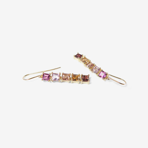 NICOLE LANDAW 14K & PINK TO ORANGE TOURMALINE ARTICULATED SQUARE DROP EARRINGS