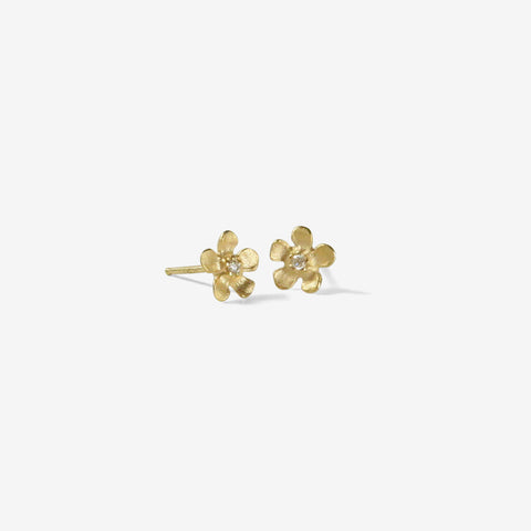 NICOLE LANDAW 14K YELLOW GOLD SMALL OPEN FLOWER DIAMOND STUD EARRINGS .03CT