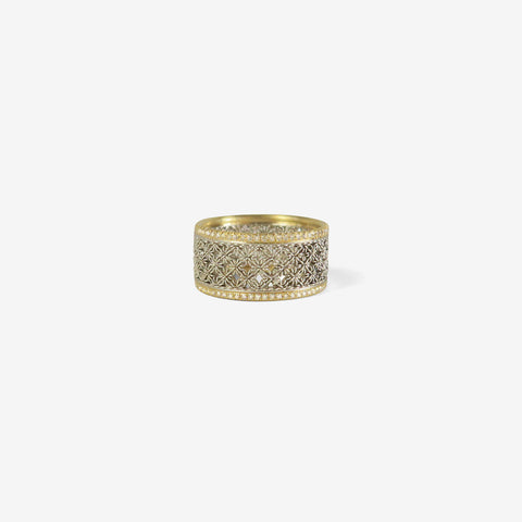 NIKOLLE RADI PLATINUM & 18K WIDE DAMASK BAND WITH MICRO PAVE DIAMONDS