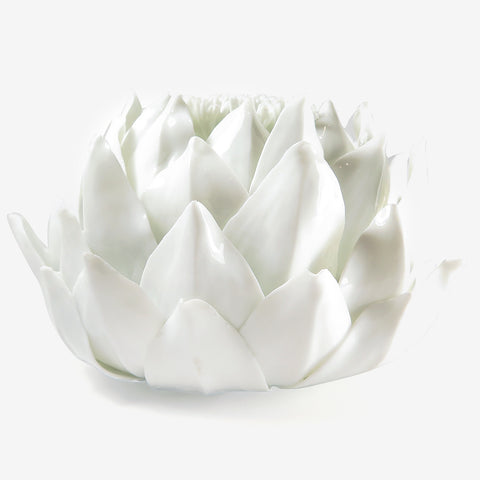 NYMPHENBURG GLAZED WHITE PORCELAIN ARTICHOKE