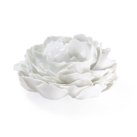 NYMPHENBURG GLAZED WHITE PORCELAIN PEONY TABLE FLOWER