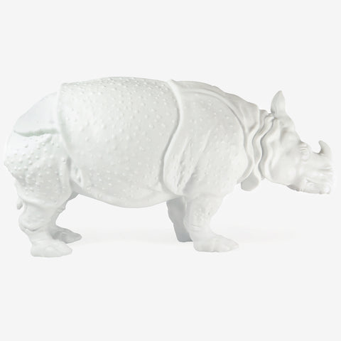 "NYMPHENBURG WHITE BISQUE RHINOCEROS ""CLARA"""