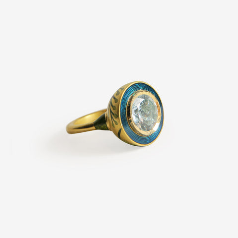 ALICE CICOLINI 22K & ENAMEL JAIPUR WISTERIA RING WITH AQUAMARINE