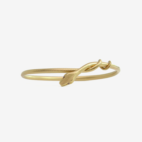 GABRIELLA KISS 18K SNAKE BANGLE WITH CHAMPAGNE DIAMOND EYES