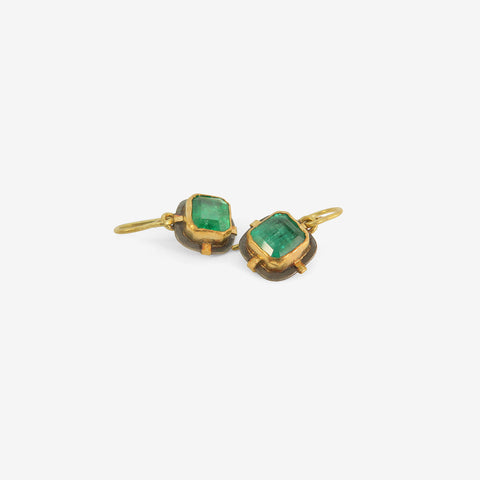 JUDY GEIB 18k, 24K, SILVER & DEEP GREEN SQUARE EMERALD EARRINGS