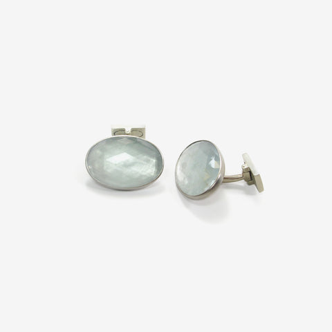 LOLA BROOKS 14K PALLADIUM & FACETED AQUAMARINE CUFFLINKS