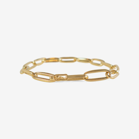 NICOLE LANDAW 14K YELLOW GOLD SOLID LINK CHAIN BRACELET