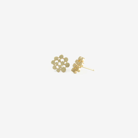 NICOLE LANDAW 14K YELLOW GOLD DOTTED CIRCLE STUDS