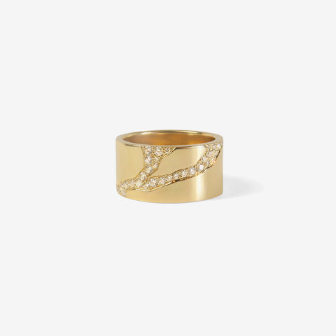 NICOLE LANDAW 14K KINTSUKUROI RING WITH WHITE DIAMONDS, 0.30CT