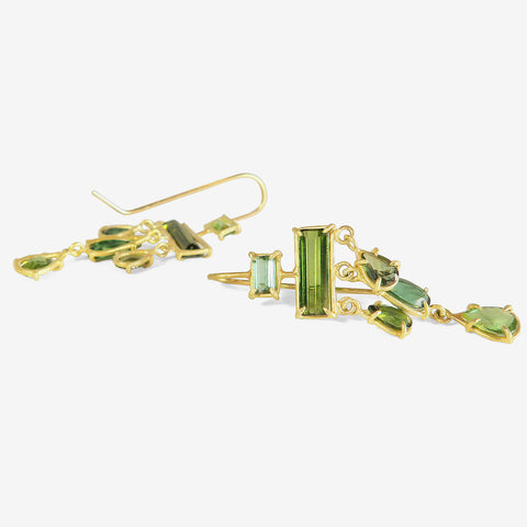 ROSANNE PUGLIESE 18K & GREEN TOURMALINE LAYERED DROP EARRINGS