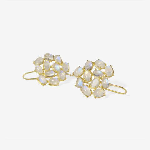 ROSANNE PUGLIESE 18K & RAINBOW MOONSTONE FLORETTE EARRINGS