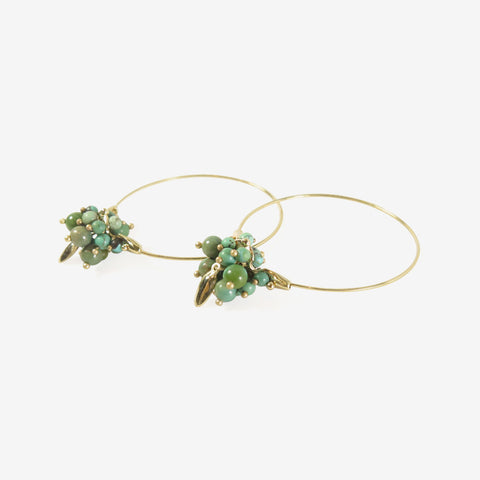 TED MUEHLING 14K & CHINESE TURQUOISE SMALL HOOP CLUSTERS