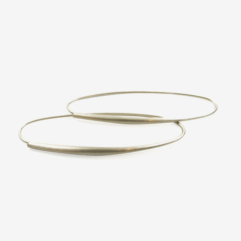 TED MUEHLING 14K WHITE GOLD SMALL OVAL HOOPS