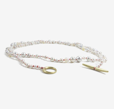 TED MUEHLING 14K PEARL & OPAL NECKLACE ON CORAL SILK THREAD