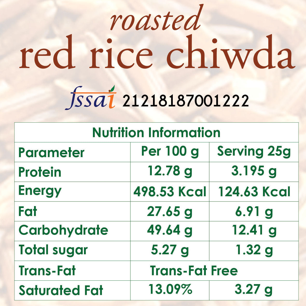 roasted red rice chivda nutrition
