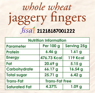 whole wheat jaggery fingers nutrition