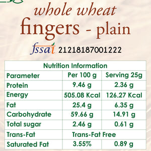 whole wheat fingers plain nutrition