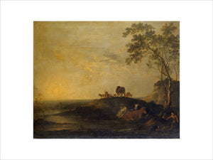 Landscape with Cattle (Cows on a Hillock by a Stream)