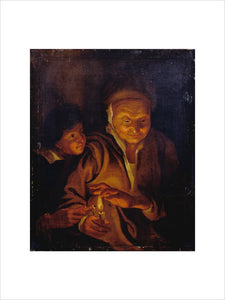 A Boy lighting a Candle from one held by an Old Woman