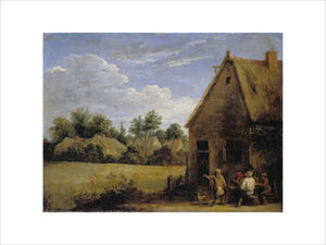 Cottage with Peasants playing Cards
