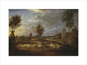 Sunset Landscape with a Shepherd and his Flock