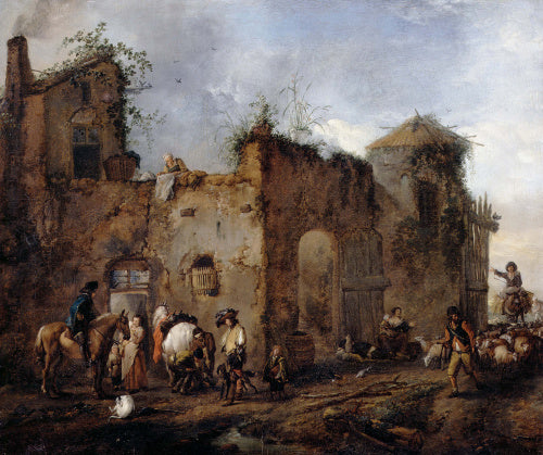 Courtyard with a Farrier shoeing a Horse