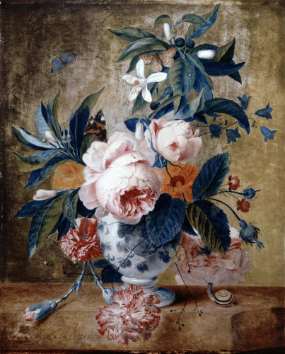 A Delft Vase with Flowers