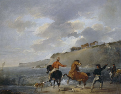Sea Shore with Rearing Horse