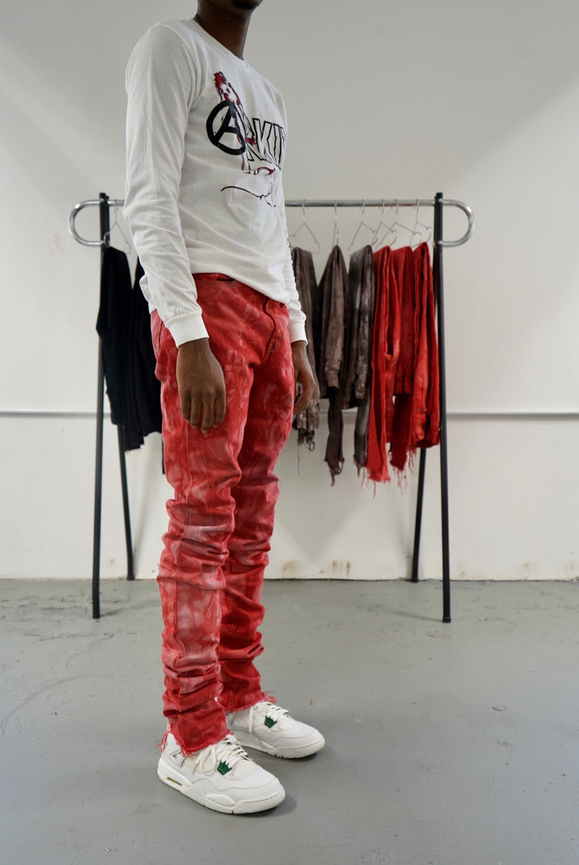 Red Marble Stack Denim
