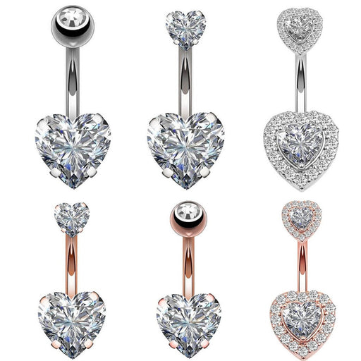 Navel Earring Belly Piercing Steel Belly Button Rings Crystal Piercing Navel Heart Style Piercing Sex Body Jewelry Piercings - Beads-N-Things