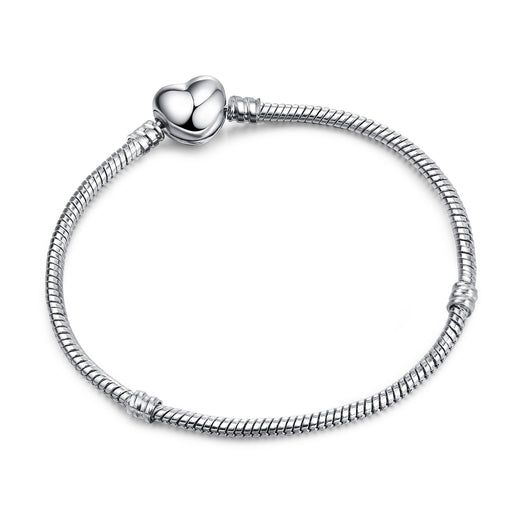 3mm Silver Plated chain Smooth Love Heart Clasp Snake Chain Bracelet for Women Original Pandora Charm Bracelet CBP003 - Beads-N-Things