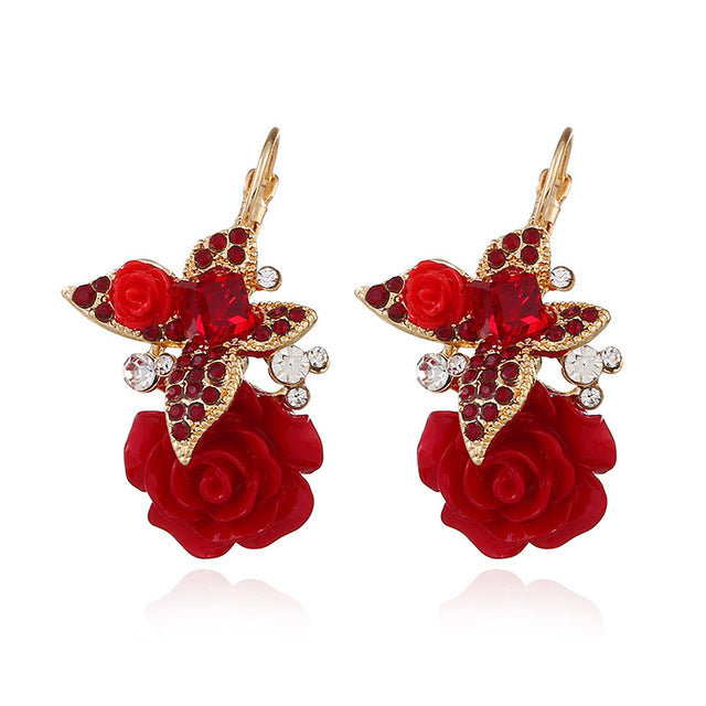 Dream Candy Vintage Resin Rose Flower Earrings for Women Exquisite Rhinestone Butterfly Stud Earrings Fashion jewelry New 2019 - Beads-N-Things