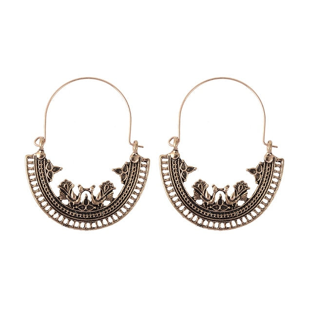 Hollow Carved Tassel Long Earrings