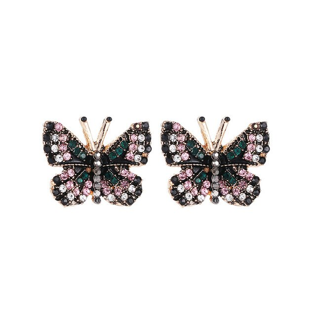 2019 New Fashion Jewelry Lovely Butterfly Stud Earrings Ms. Square Earrings Unique Design Colorful Rhinestone Earrings Ms. Gift - Beads-N-Things