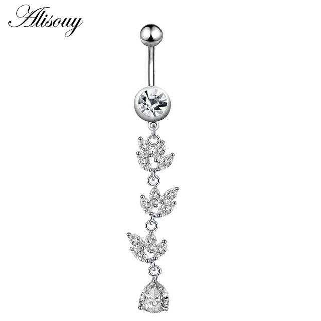 1pc New Zircon Fashion Surgical Stainless Steel Navel Piercing Flower Pendant Belly Button Rings Belly Piercing Body Jewely - Beads-N-Things