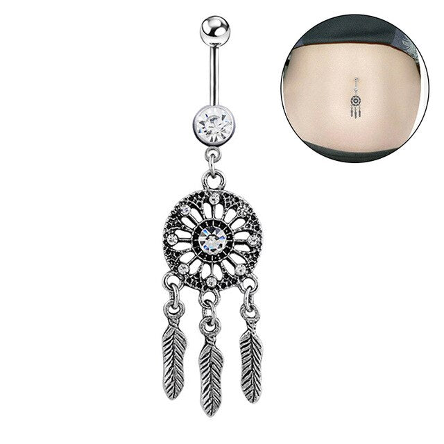 1pc Fashion Sexy Women Crystal Rhinestone Flower Navel Belly Button Ring Bar Body Piercing - Beads-N-Things