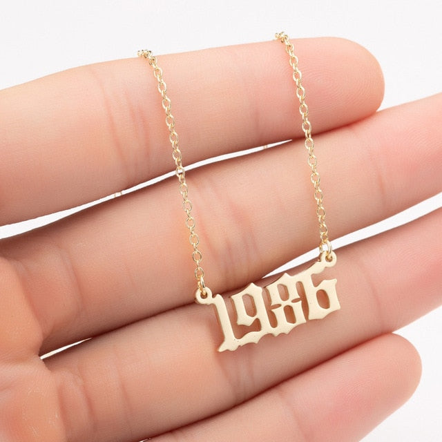 Women Personalized Necklace Special Date Year Number Necklace girl1994 1995 1996 1997 1998 1999 from 1980 to 2002 chain Jewelry - Beads-N-Things