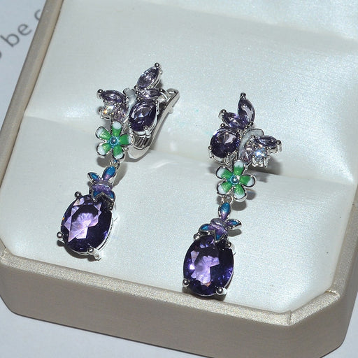 Purple Flower Zircon Stone Butterfly Earrings