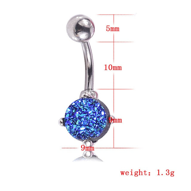 Charm Crystal Nature Stone Pendant Belly Button Rings Anti-allergy Gold Stainless Steel Sexy Lady Piercing Ombligo Body Jewelry - Beads-N-Things