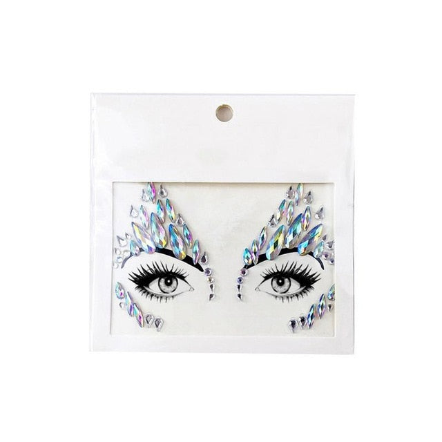 Music Festival Face Resin Rhinestone Sticker Environmental Face Decoration DIY Jewelry Temporary Tattoo Eyebrow Sticker - Beads-N-Things