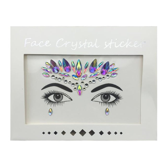 Rhinestone Temporary Tattoo Brush Face Jewelry Gems Party Festival Makeup Jewelry Body Flash Fake Temporary Tattoos - Beads-N-Things