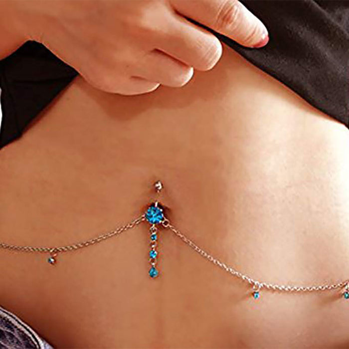 Women Sexy Rhinestone Dangle Belly Button Chain Navel Piercing Ring Surgical Steel Body Jewelry - Beads-N-Things