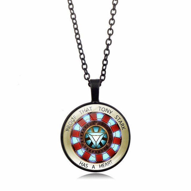Marvel Avengers Iron Man Tony Stark Curved Reactor Necklace Glass Convex Round Metal Pendant Movie Commemorative Badge - Beads-N-Things