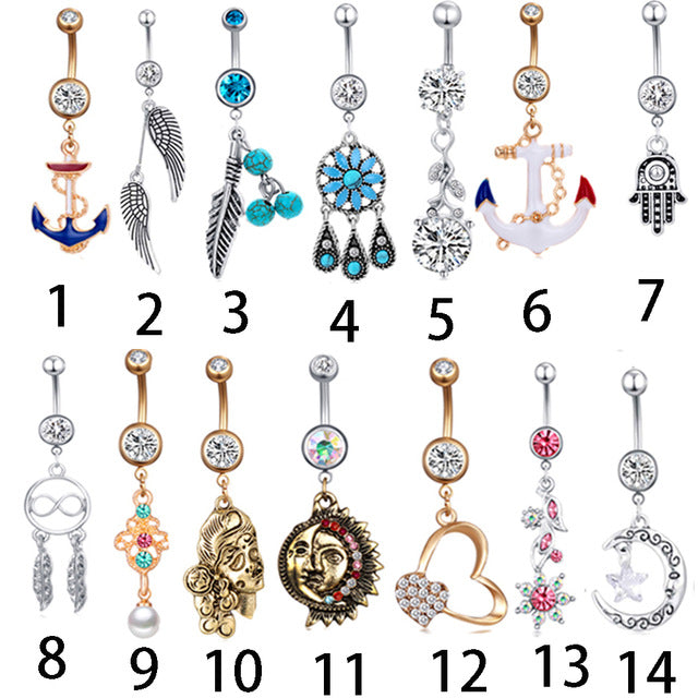 JUNLOWPY 1pc Sexy Dangling Navel Belly Button Rings Belly Piercing Crystal Surgical Steel 14g Woman Body Jewelry Barbell - Beads-N-Things