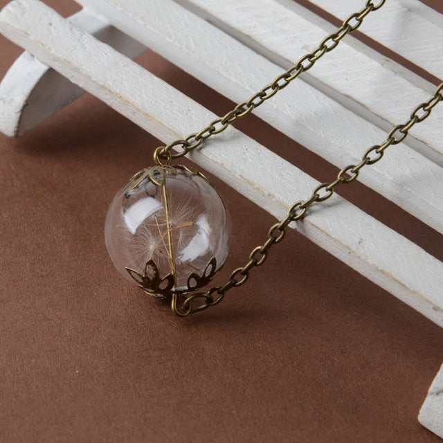 Make A Wish Glass Bead Orb Natural Dandelion Seed in Glass Long Necklace Glass Wishing Bottle Necklace Silver Plated Jewelry - Beads-N-Things